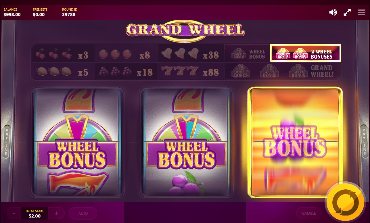 1-payline video slot Grand Wheel developed by Red Tiger Gaming