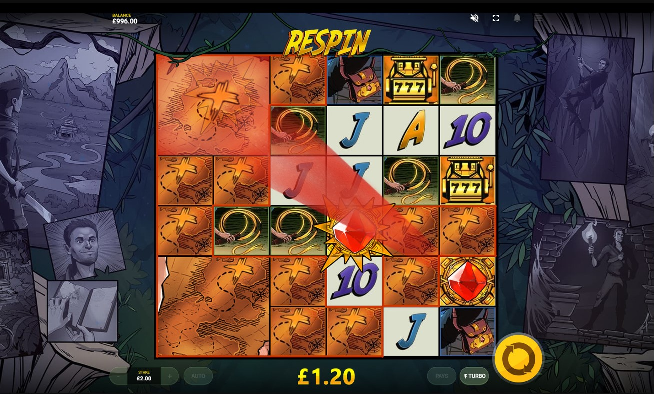 Respin bonus feature from Red Tiger's Jackpot Quest casino game