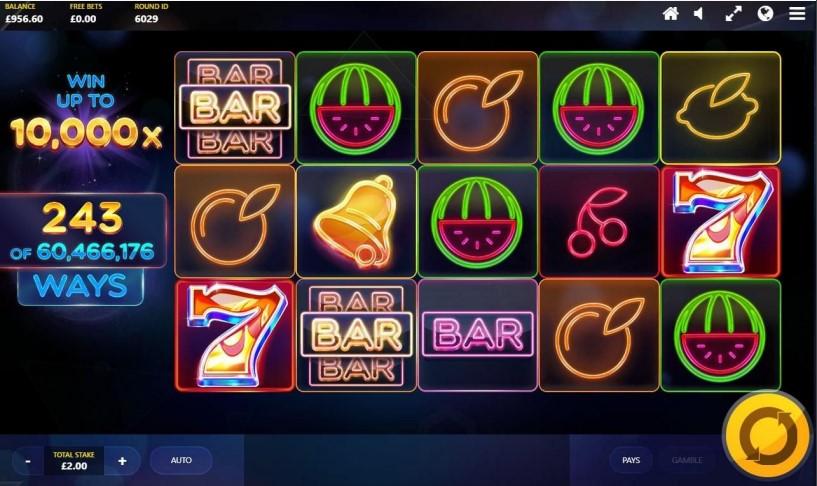 Screenshot of Laser Fruit mobile slot from Red Tiger Gaming