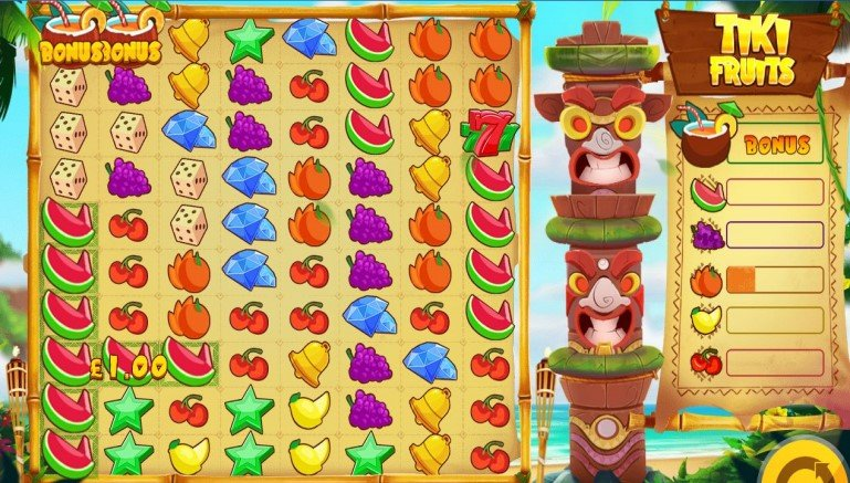 Tiki Fruits video slot with grid format and bonus bar