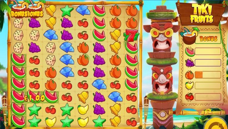 Tiki Fruits video slot with grid format and bonus bar