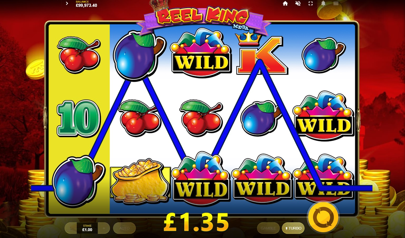 Wild symbol win during Reel King Mega online slot game