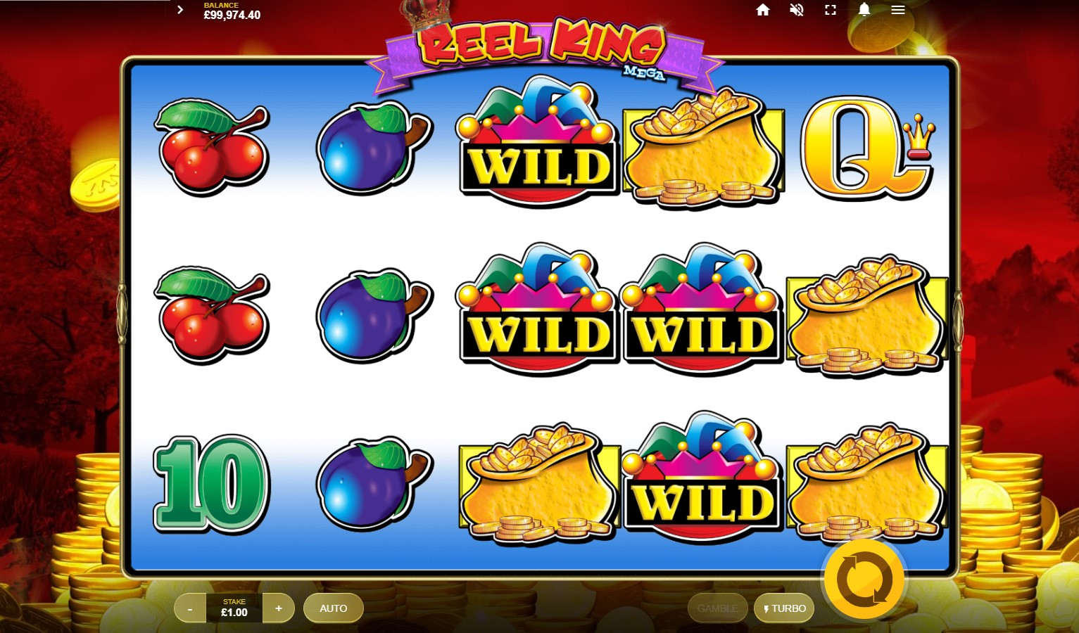 Base game screenshot from Red Tiger's Reel King Mega video slot