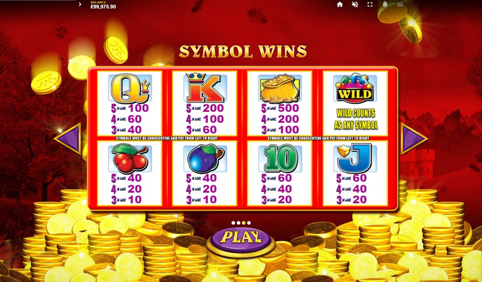Paytable from PlayOJO's Reel King Mega online slot game