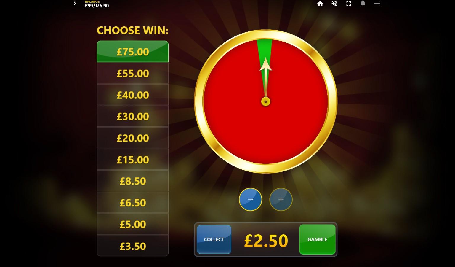 Reel King Mega slot's Gamble wheel feature
