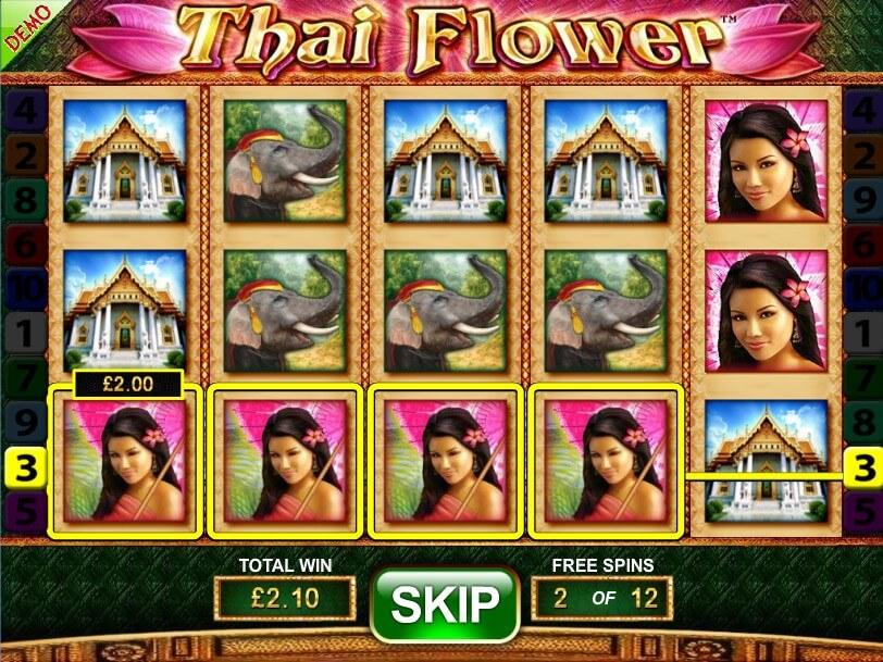 Free Spins game in Thai Flower online slot
