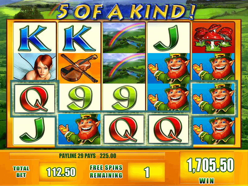 5 of a kind win during Free Spins in Leprechaun's Fortune slot by Scientific Games