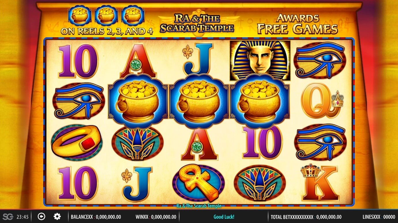 3 Scatters trigger Free Games feature in Ra & The Scarab Temple slot