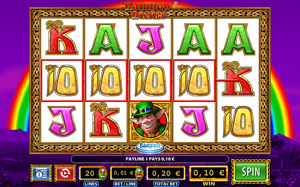 Screenshot from Rainbow Riches online slot available at PlayOJO