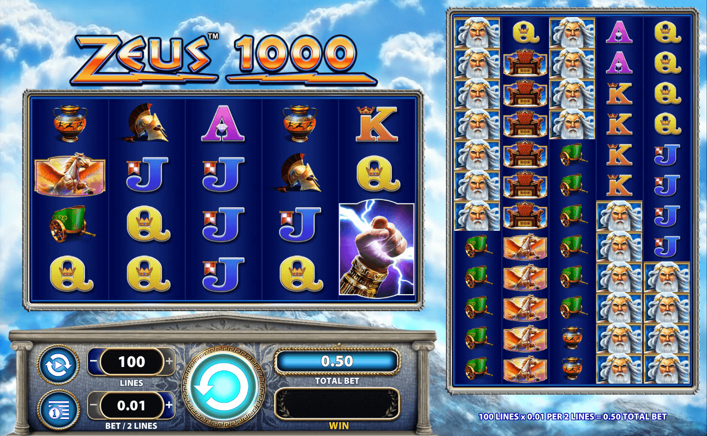 Reels and grid display from Zeus 1000 mobile slot by Scientific Games