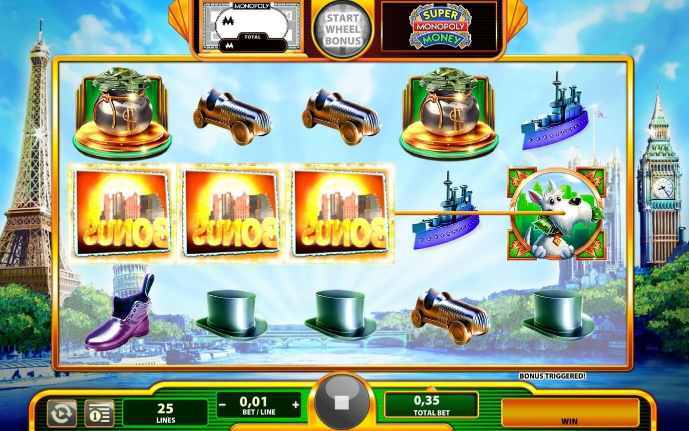 Bonus feature is triggered in Super Monopoly Money slot