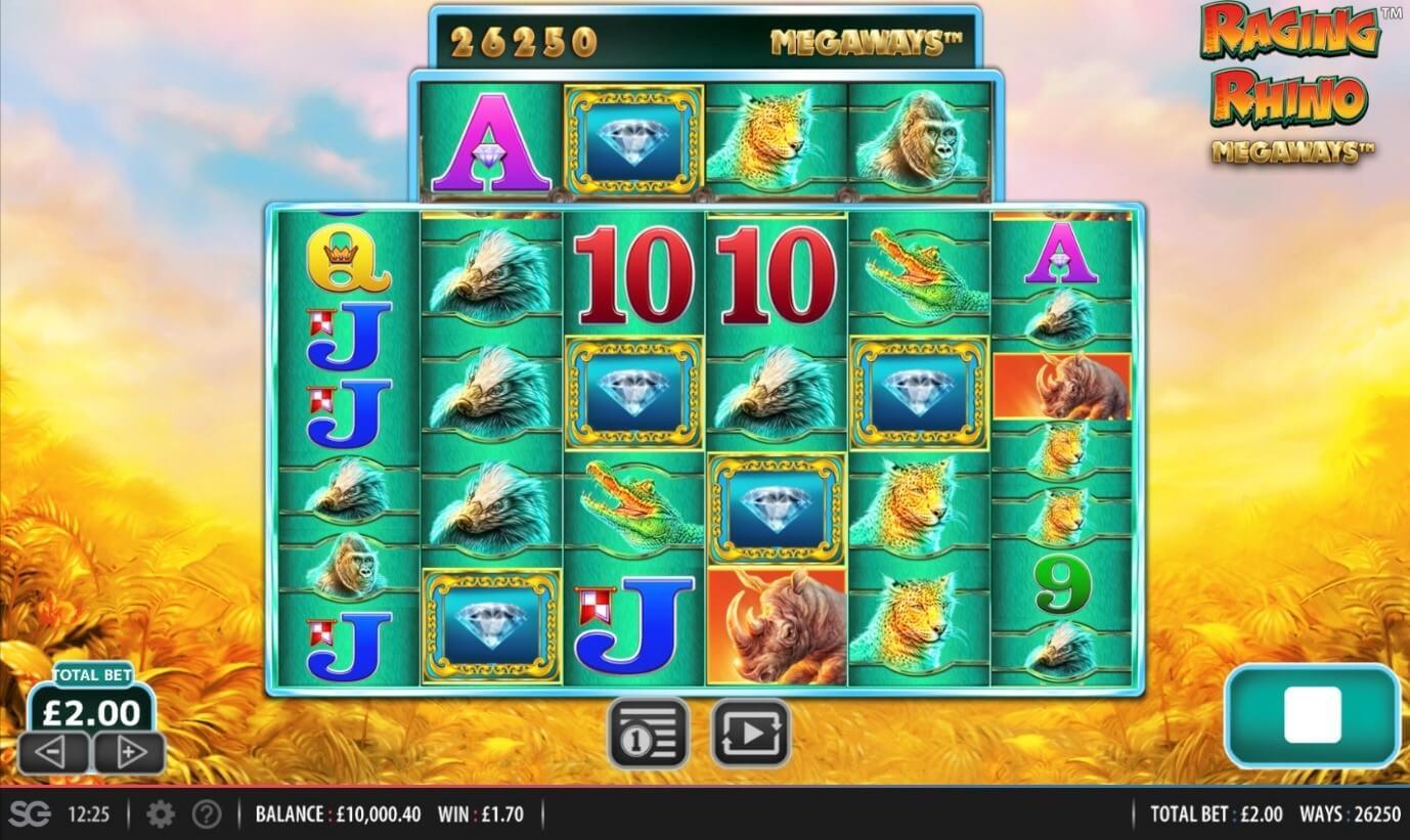 Diamond symbol win during Raging Rhino Megaways video slot
