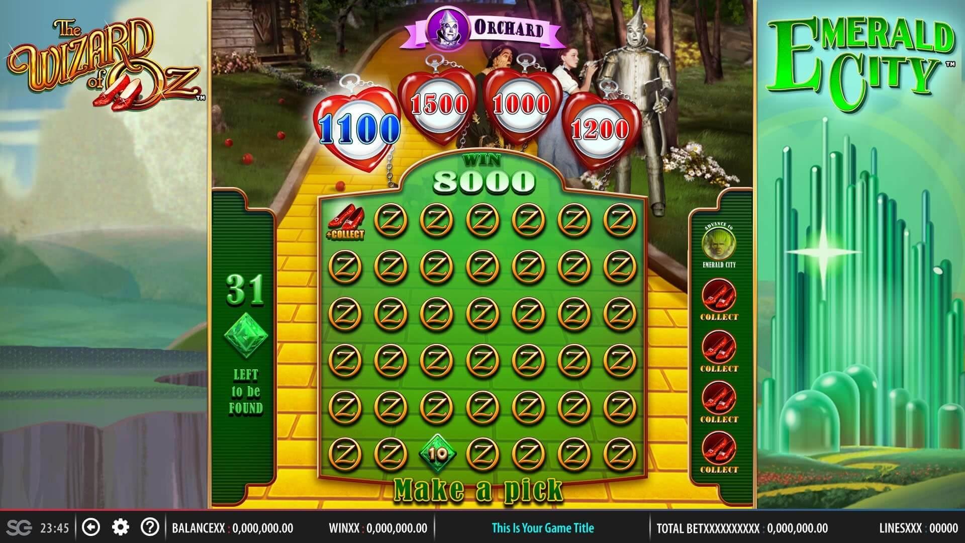 Tin Man bonus game from Wizard of Oz Emerald City online slot
