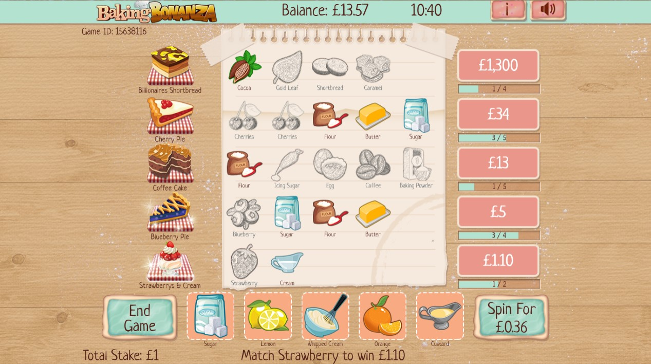 Baking Bonanza slot game reveals symbols that complete recipe paylines