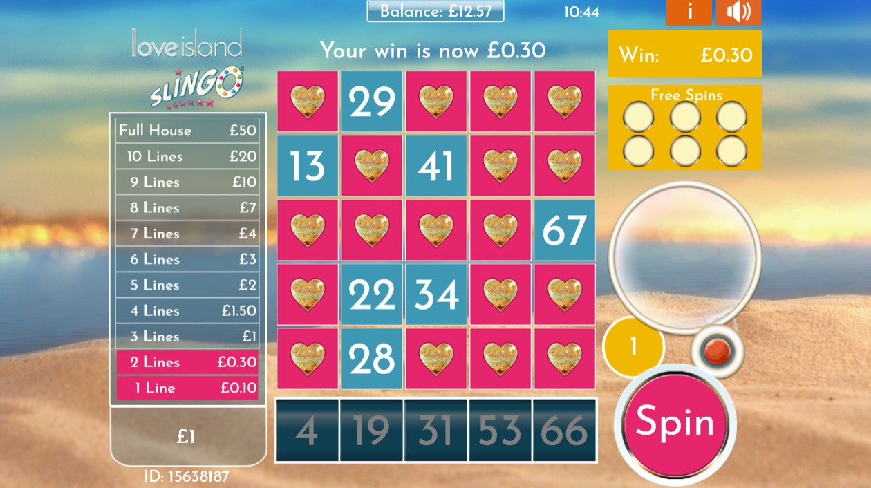 2 Prize lines completed during Love Island Slingo game at PlayOJO