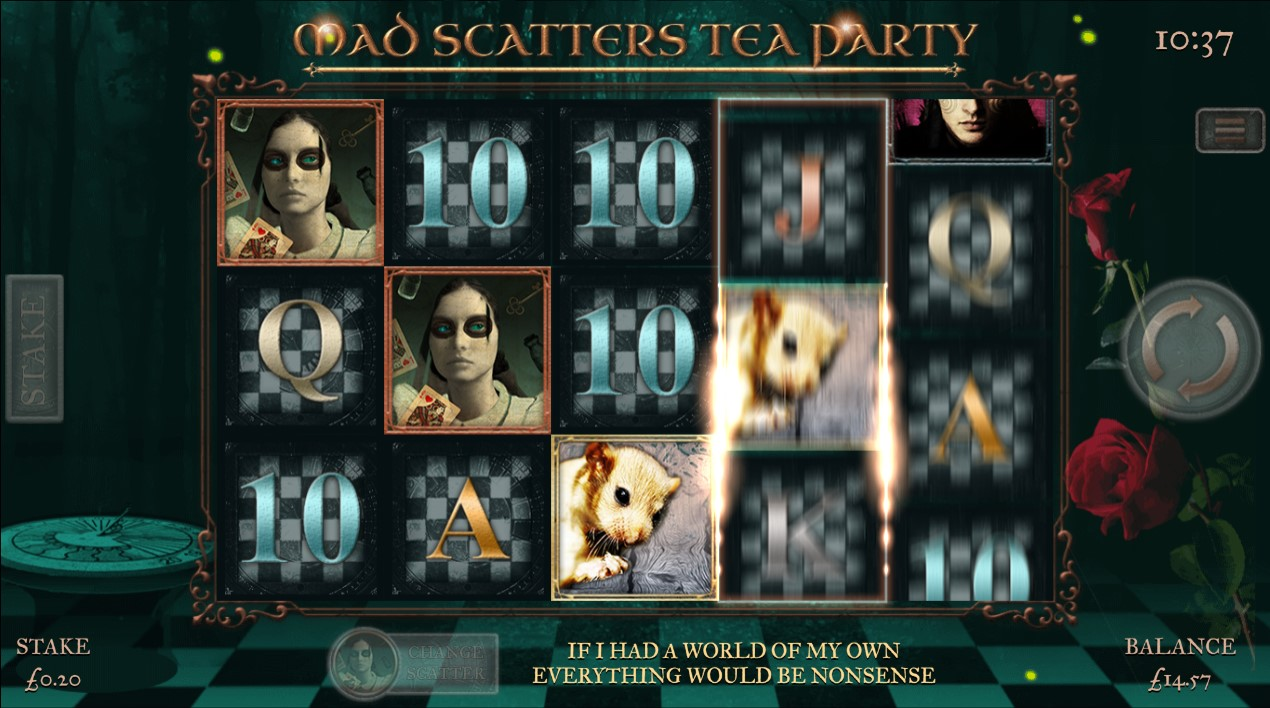 Scatter symbols appear on reels 1 and 2 during Mad Scatters Tea Party online slot game