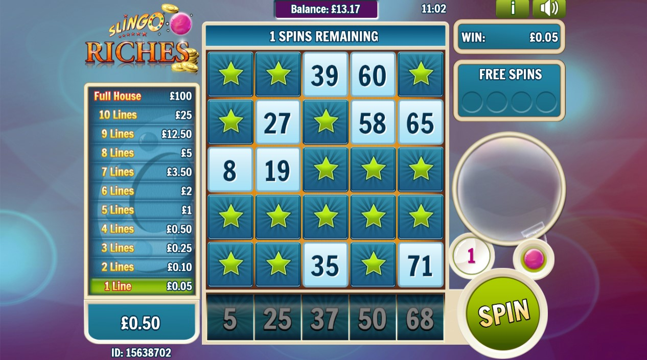 Play Slingo Riches game at PlayOJO online casino