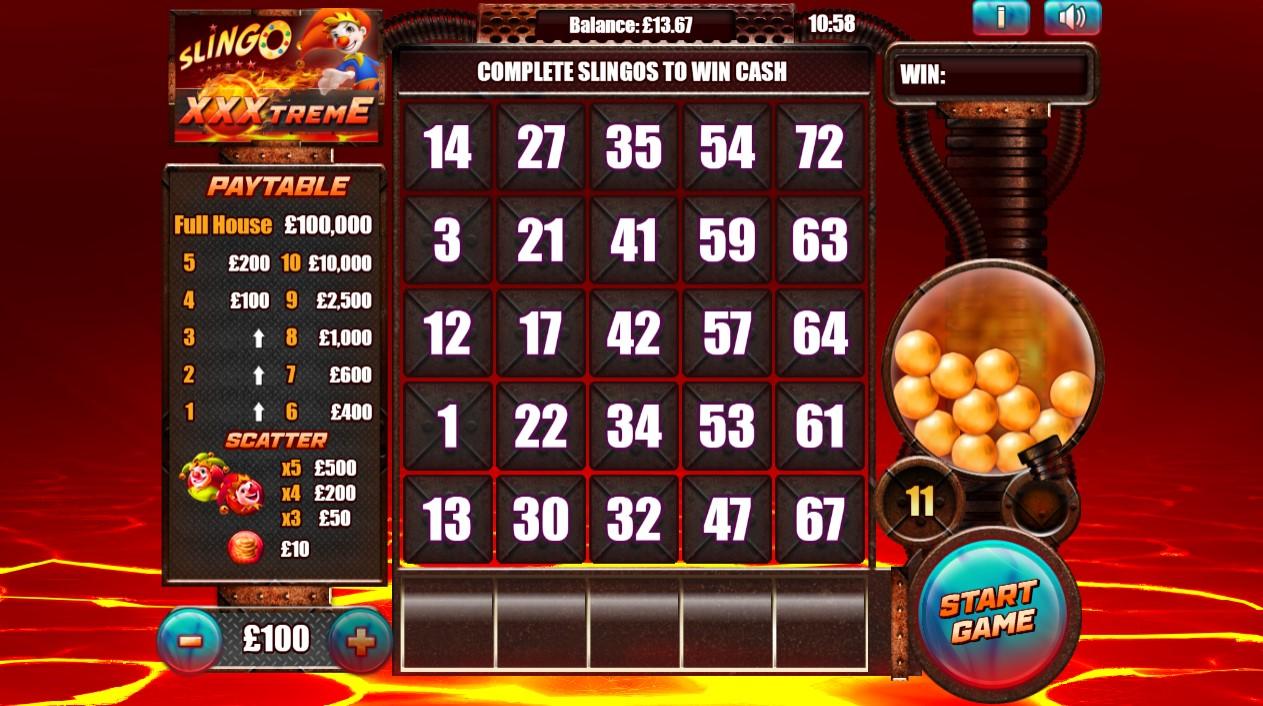 Slingo XXXtreme online slot combines bingo and slot machine designs