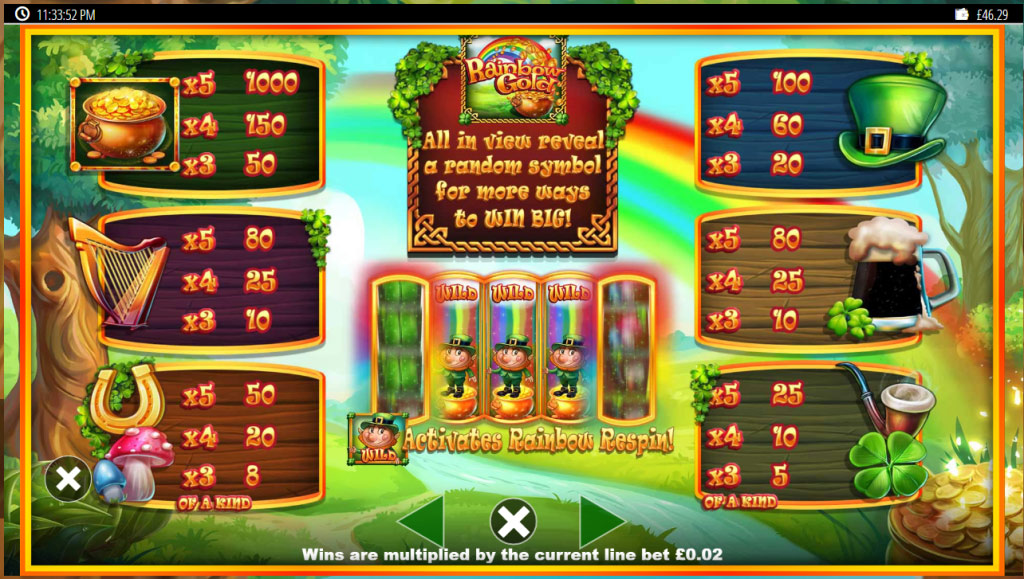 Paytable information from Blueprint Gaming's Slots O' Gold slot online