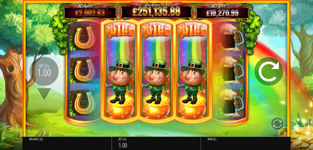 Expanding Wilds during a Rainbow Respin on the Slots O' Gold slot machine