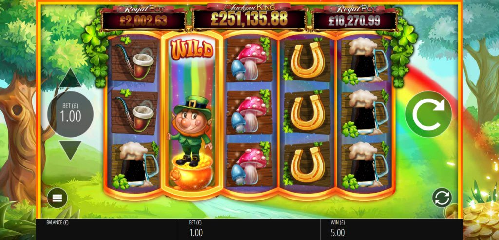 Slots O' Gold game spin with a Wild symbol expanding to fill the reel