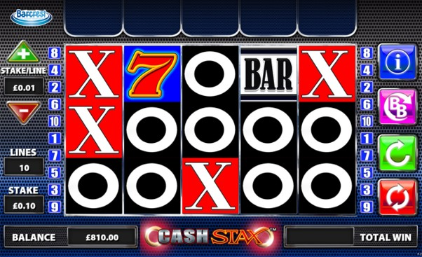 Play 10 win lines when you bet 1p per line on OJO's Cash Stax slot