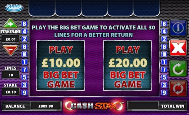 Information screen for the Cash Stax slot Big Bet Game