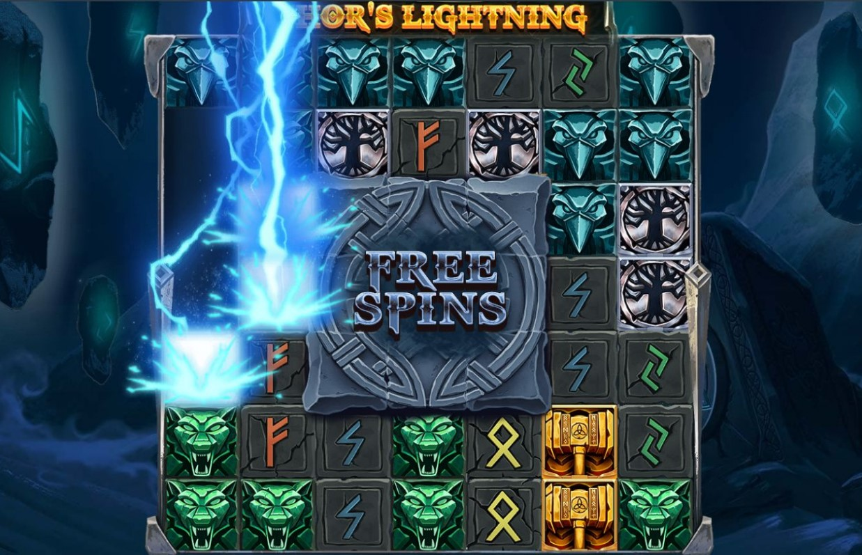 Thor's Lightning bonus seen during Thor's Lightning online slot spin