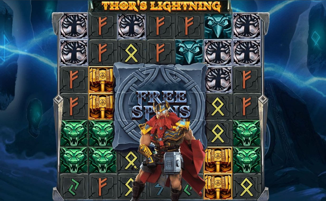 Thor character appears during spin of Thor's Lightning online slot