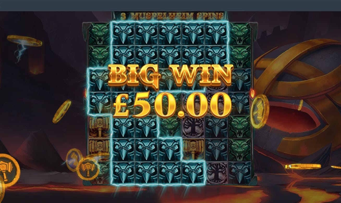 Big Win graphic from Thor's Lightning online slot from Red Tiger