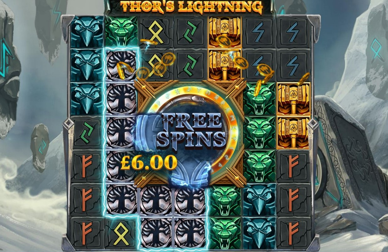 Cluster win from Thor's Lightning slot machine