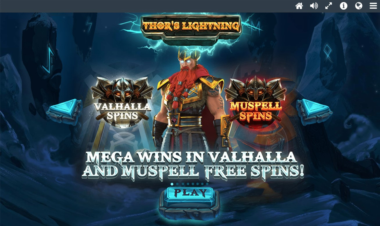 Intro screen from Thor's Lightning online slot showing Free Spins bonuses