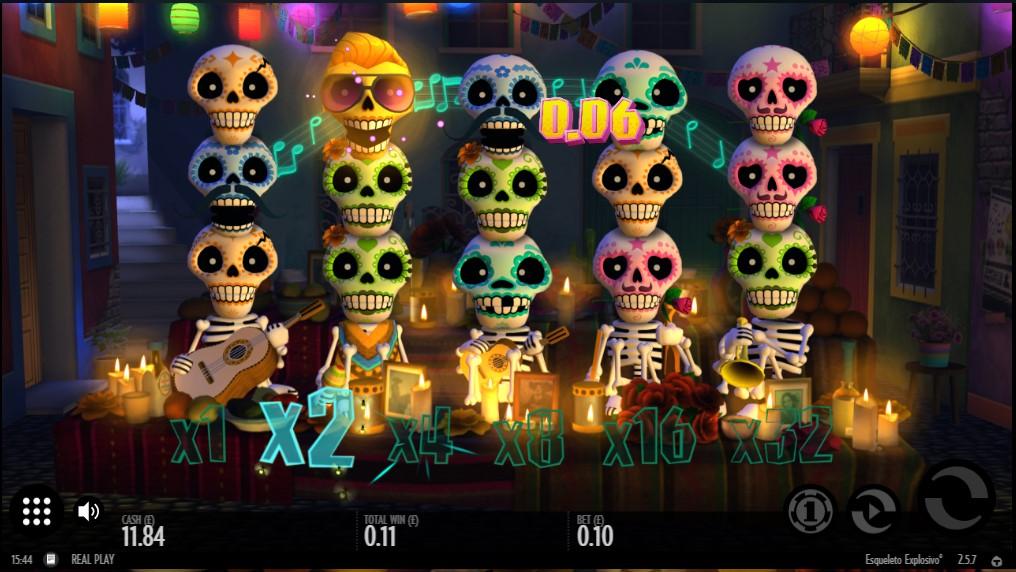Multipliers triggered by cascading symbols in OJO's Explosivo Esqueleto video slot