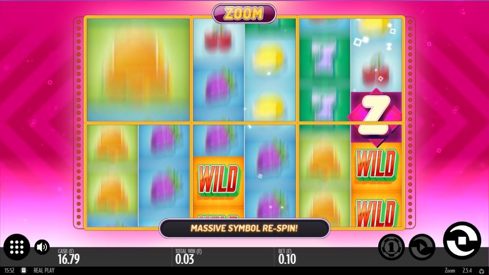 Respin feature triggered on Zoom online slot by Thunderkick