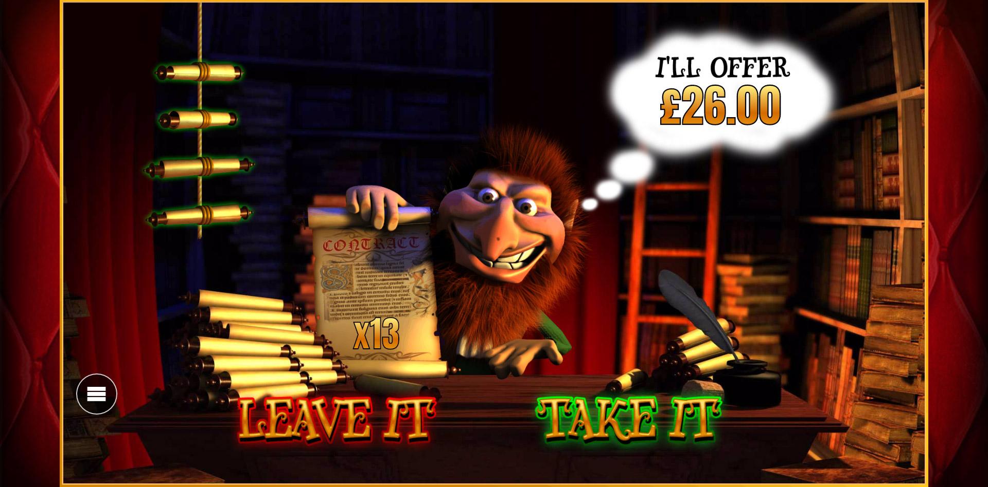 Rumpelstiltskin's Deal Maker Bonus in PlayOJO's Wish Upon A Jackpot slot