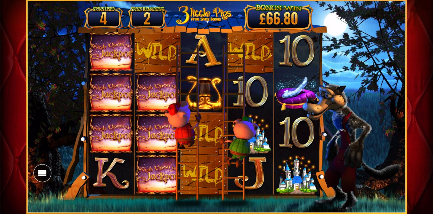 3 Little Pigs Free Spins Bonus from Wish Upon A Jackpot slot machine