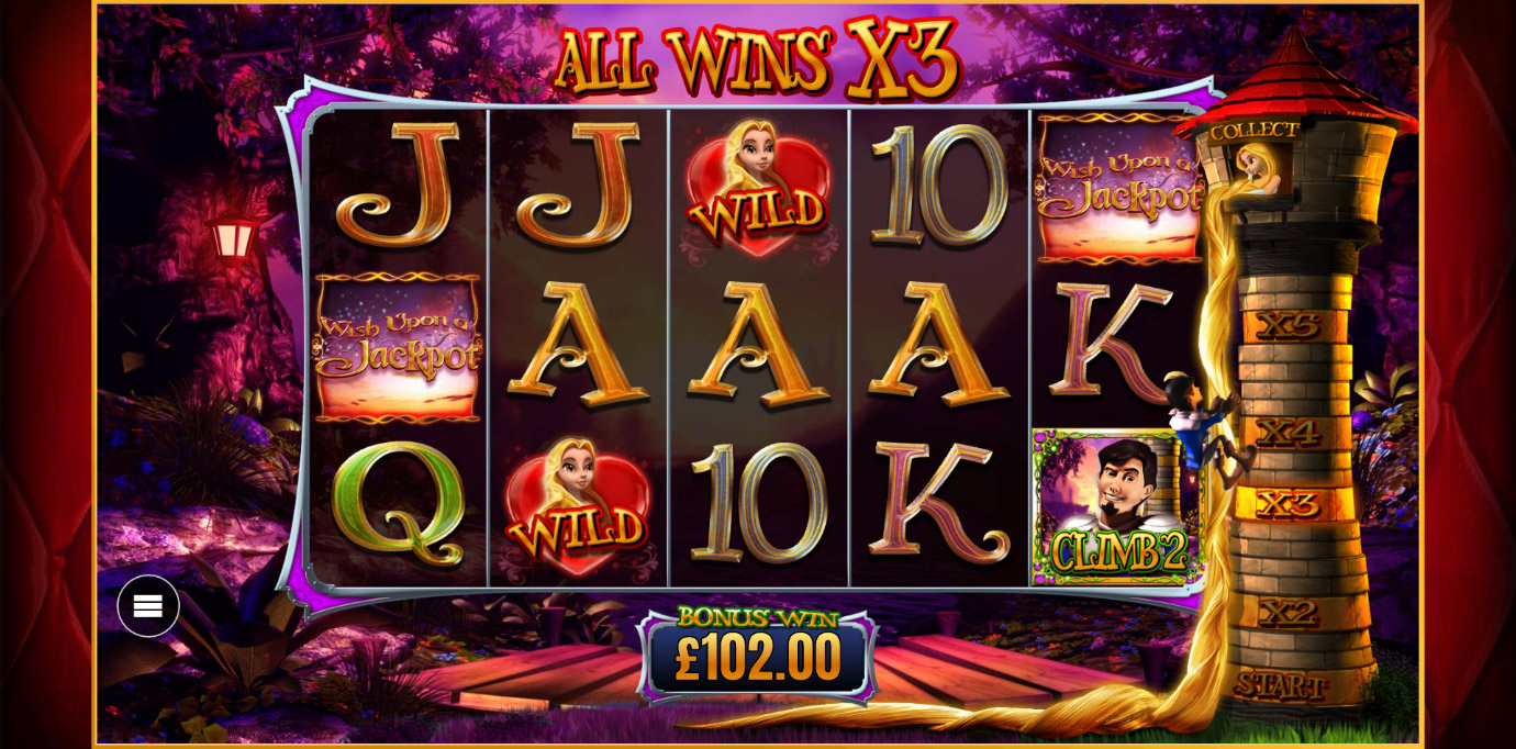 Rapunzel Free Spins Bonus from Wish Upon A Jackpot online slot game