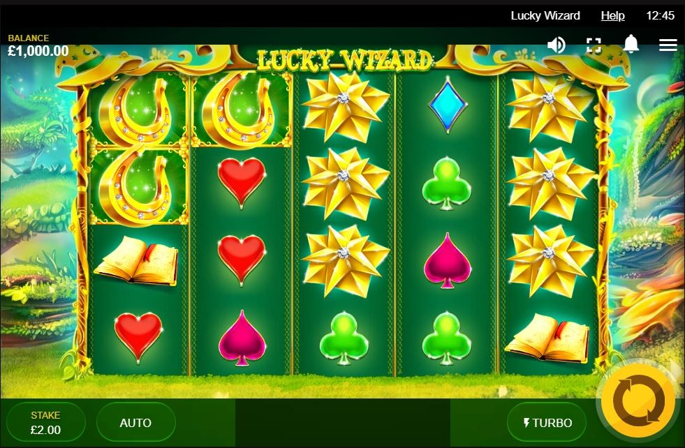 Lucky Wizard online slot with big win symbols