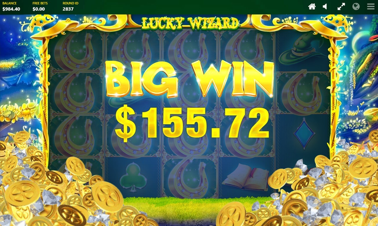 The Big Win animation screen on PlayOJO's lucky Wizard Video slot