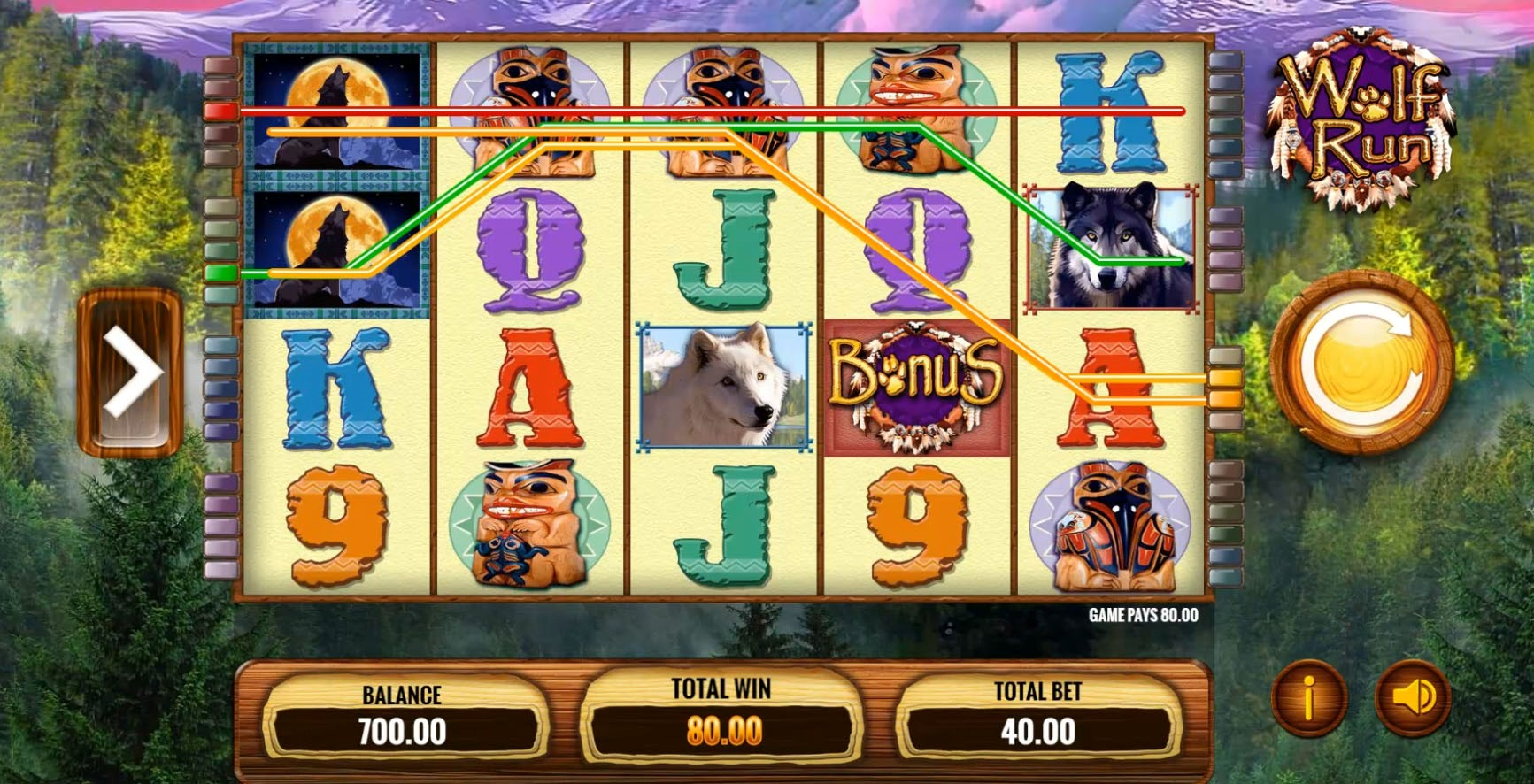Two Stacked Wilds create a variety of payline wins in IGT's Wolf Run slot