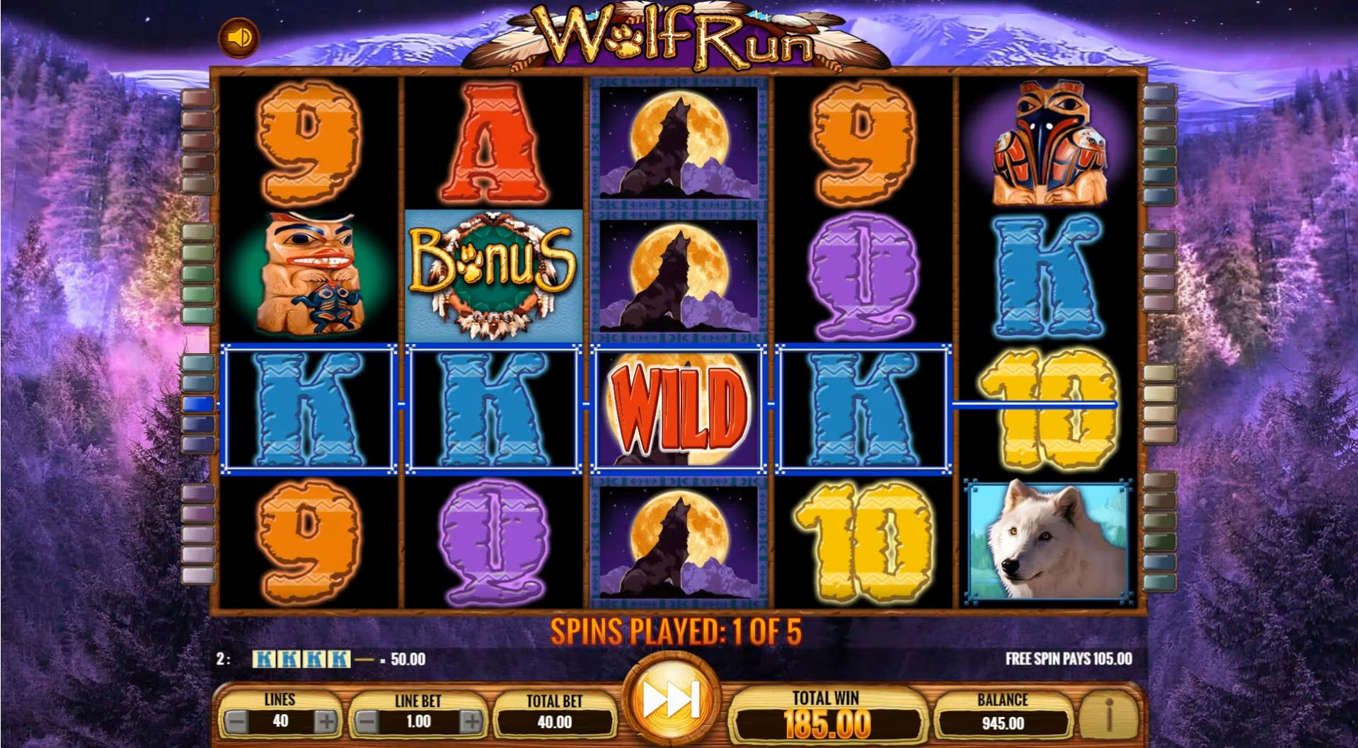 Wolf Run slot's Free Spins mode uses a special darker theme to create a sense of excitement