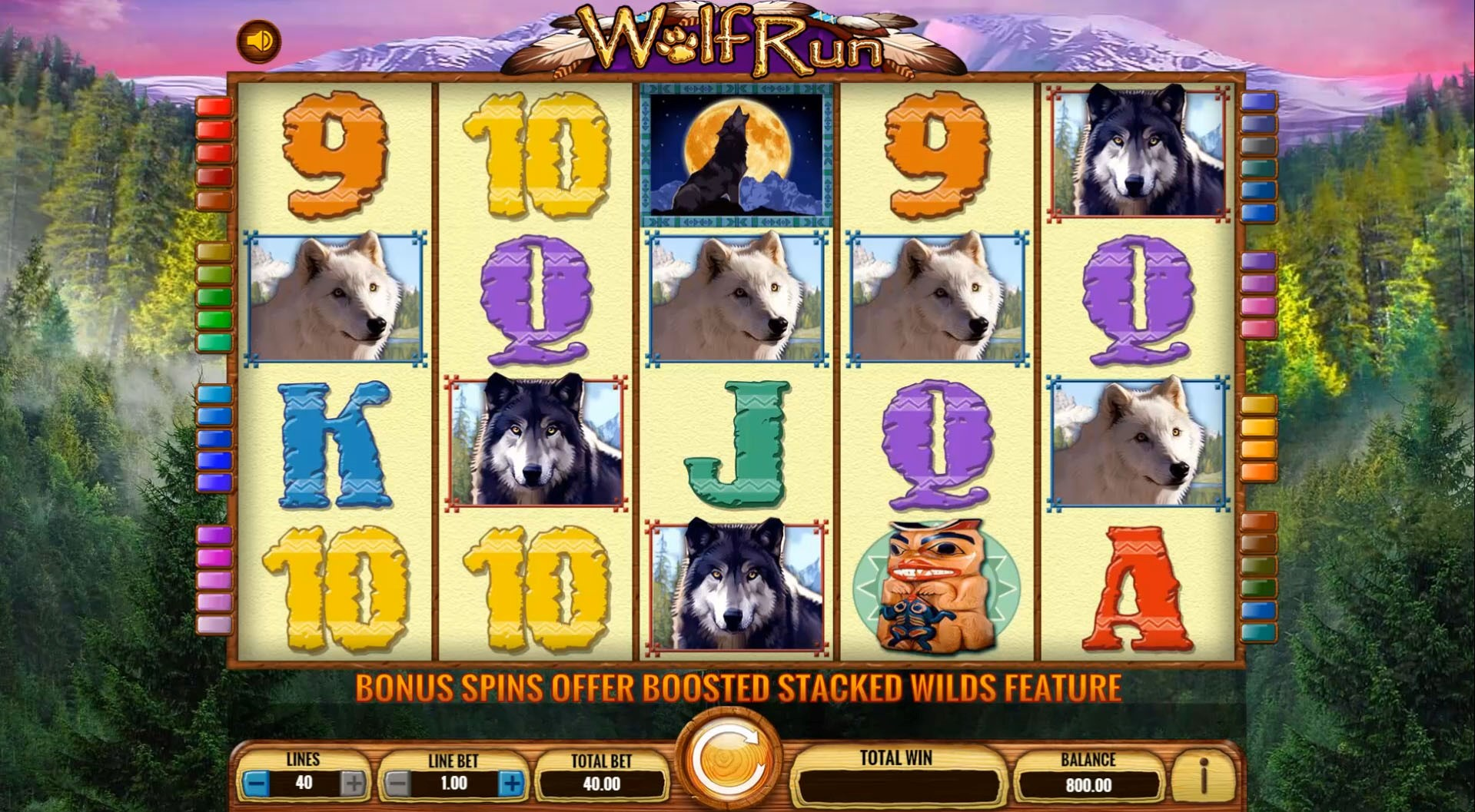Bet up to 40 lines in PlayOJO's Wolf Run online slot game from game provider IGT
