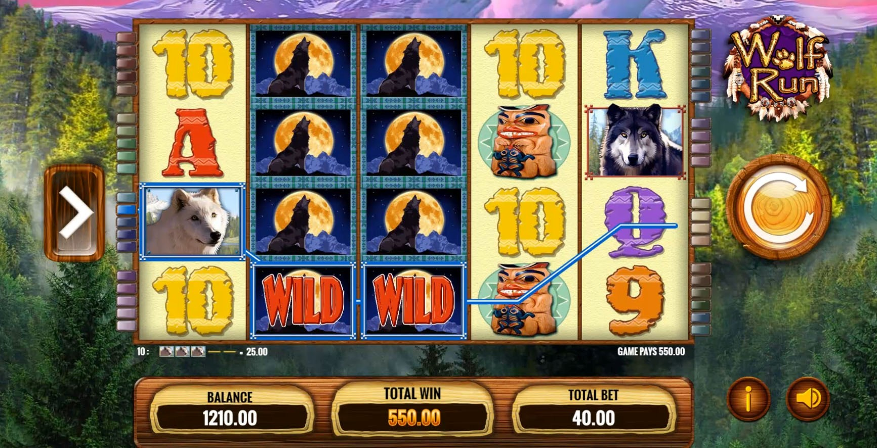 A set of 4 Stacked Wilds on reels 2 and 3 of the Wolf Run slot on iPhone