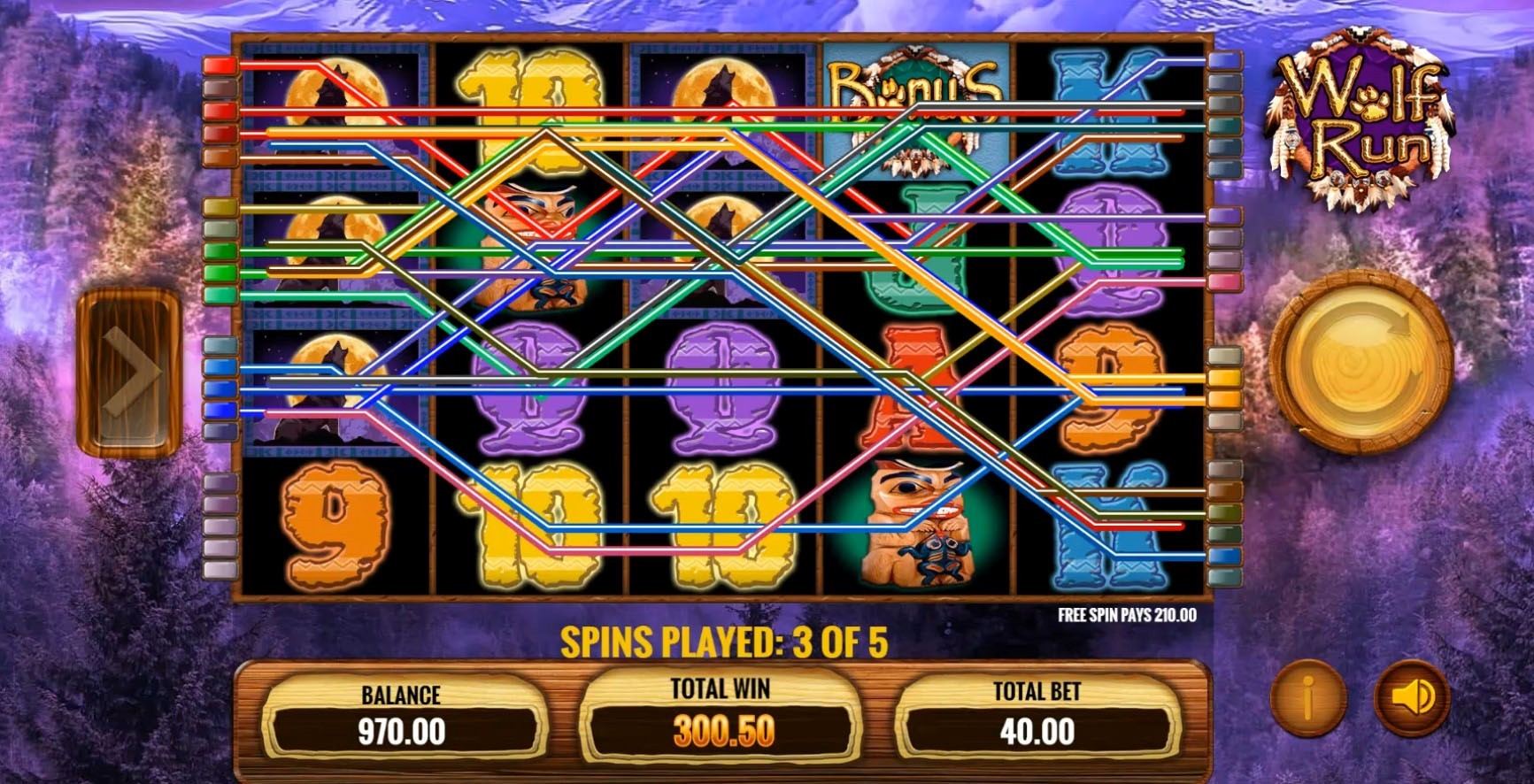 A Free Spins bonus round in progress on the mobile version of IGT's Wolf Run slot machine