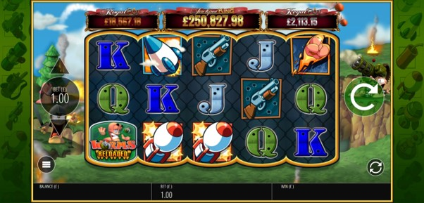 Worms Reloaded slot reels featuring symbols and progressive jackpots