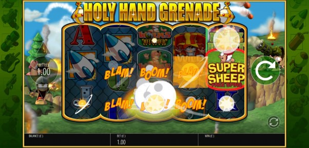 Holy Hand Grenade bonus feature adds bonus symbols to the reels during Worms Reloaded slot game