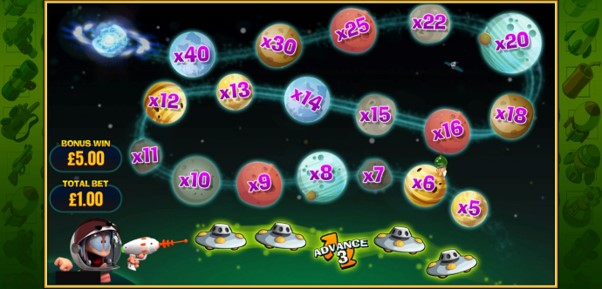 Advance to bigger multipliers during space-themed cash trail bonus game from Worms Reloaded slot