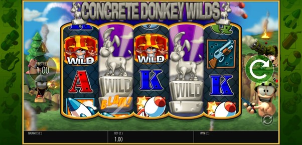Concrete Donkey Wilds expand to fill reels during Worms Reloaded slot spin