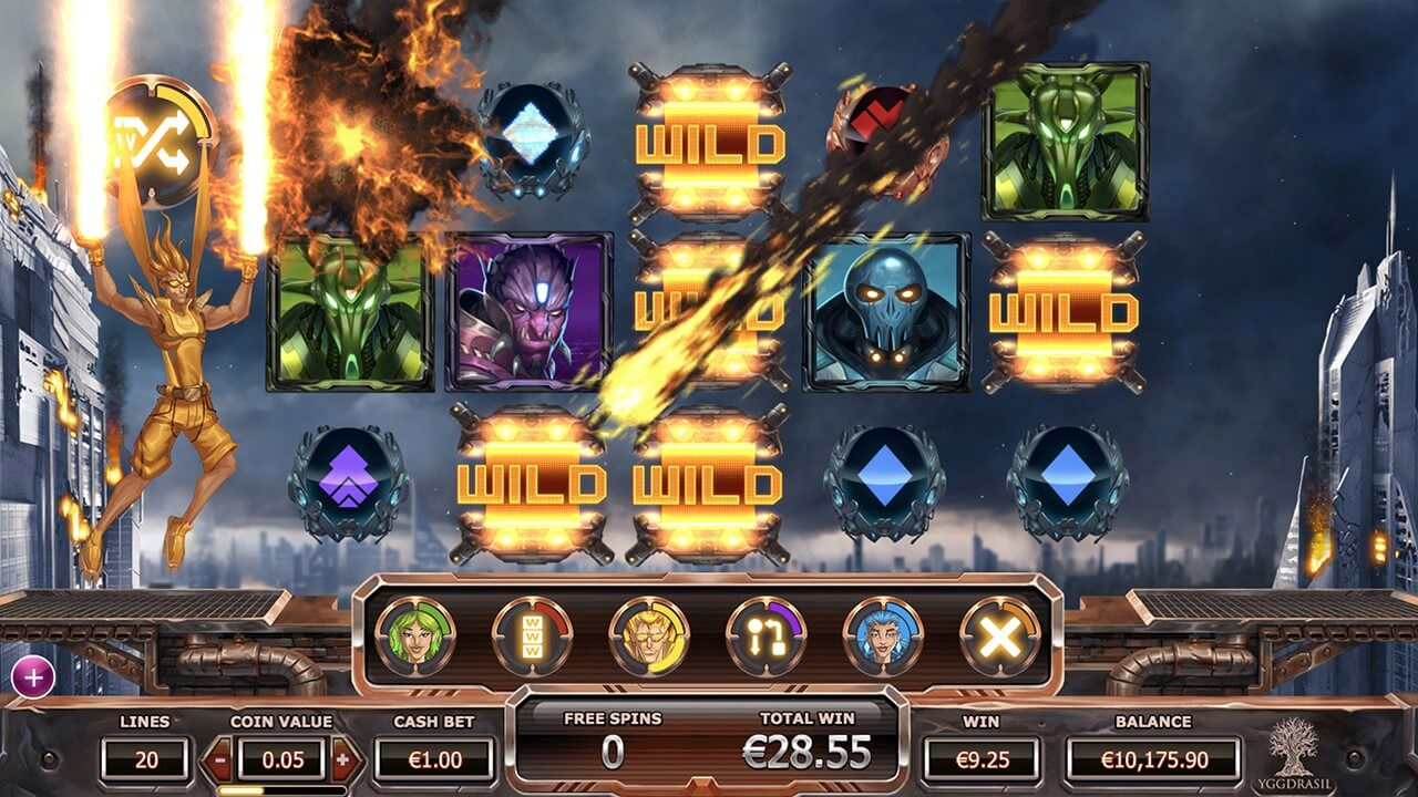 Exploding Wilds in Super Heroes online slot at PlayOJO