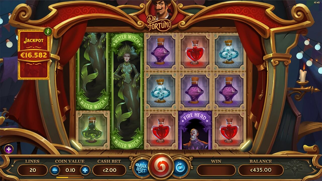 Water Witch and Fire Head features in PlayOJO's Dr Fortuno jackpot slot